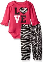 Bon Bebe Girls' 2 Piece Lap Shoulder Bodysuit and Velour Legging Set