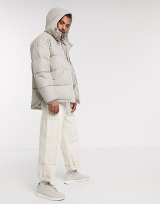 ASOS DESIGN puffer hooded jacket with side zip detail in stone