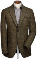 Slim Fit Green Checkered British Tweed Wool Jacket Size 38 Long By Charles Tyrwhitt