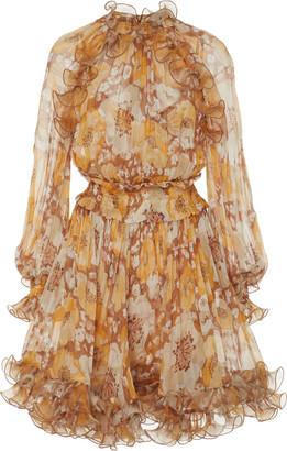 Zimmermann Ruffled Floral-Print Silk-Chiffon Mini Dress