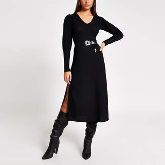 River Island Womens Black puff sleeve A line ribbed midi dress