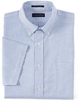 Classic Men's Tall Traditional Fit Short Sleeve Supima Pattern No Iron Oxford Shirt-Bayshore Blue Stripe