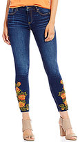 Miss Me Destructed Floral-Embroidered Skinny Ankle Jeans