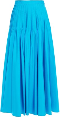 Roksanda Pleated Cotton-poplin Maxi Skirt