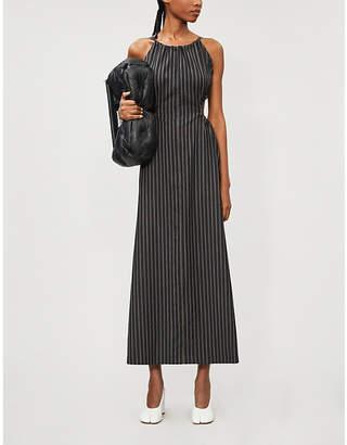 Maison Margiela Striped cutout-detail wool midi dress