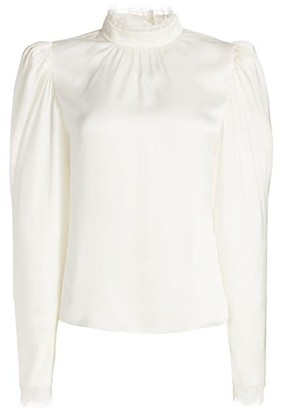 Frame Lace-Trim Puff-Sleeve Silk Top