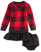 Ralph Lauren Long-Sleeve Check Fleece & Corduroy Dress w/ Bloomers, Black/Red, Size 6-24 Months
