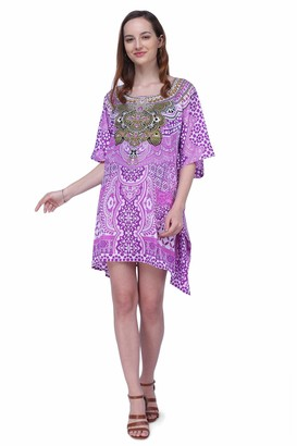 Miss Lavish London Kaftan Dress - Caftans for Women - Women's Caftans Available in One Size to Fit UK 8 10 12 and 14 (158 Blue)