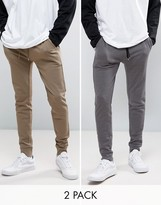Asos Super Skinny Joggers 2 Pack Brown/Charcoal Marl Save