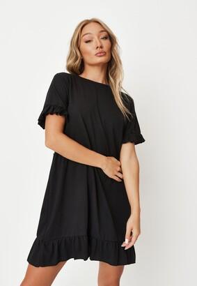 Missguided Black Frill Short Sleeve Smock Dress