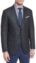 Ermenegildo Zegna Windowpane Two-Button Sport Coat, Charcoal/Blue
