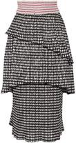 Rosie Assoulin Mountain Range Gingham Seersucker Midi Skirt - Black