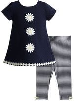 Youngland Baby Girl Flower Textured Tunic & Striped Leggings Set