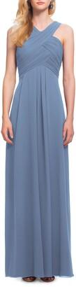 #Levkoff Crisscross Neck Chiffon A-Line Gown