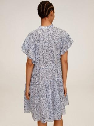 MANGO High Neck Floral Shirt Dress - Light Grey