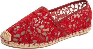 Valentino Red Floral Lace Espadrille Flats Size 38
