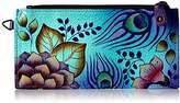 Anuschka Anna By Handpainted Leather Organizer Wallet, Peacock Garden Credit Card Holder