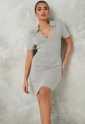 Missguided Gray Polo Neck Short Sleeve Mini Dress