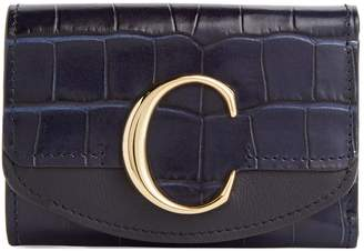 Chloé Mini Leather Croc-Embossed Wallet