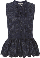 Sea Eyelet Pinstriped Embroidered Topp