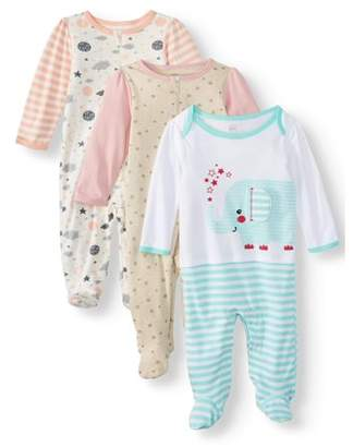 N. Wonder Nation Baby Girl Inverted Zipper Sleep 'N Play Pajamas, 3-Pack