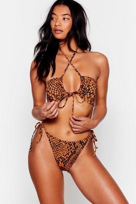 Nasty Gal Womens Snake My Day Tie High-Leg Bikini Set - Orange