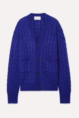 Matthew Adams Dolan - Oversized Cable-knit Mohair-blend Cardigan - Indigo