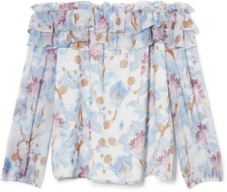 Vince Camuto Floral-print Off-the-shoulder Blouse