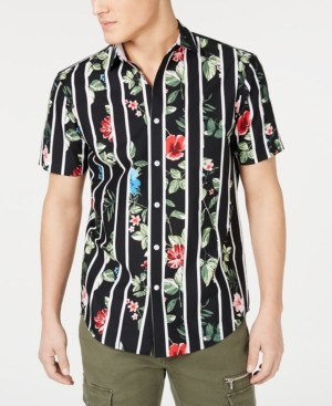 INC International Concepts Inc Men's Big & Tall Gregory Floral Stripe Camp Shirt, Created for Macy's