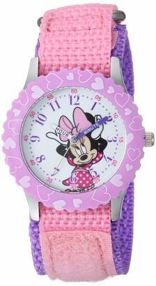 Disney Girls Minnie Mouse Stainless Steel Analog-Quartz Watch with Nylon Strap