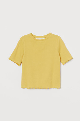 H&M Ribbed Cotton Top - Yellow