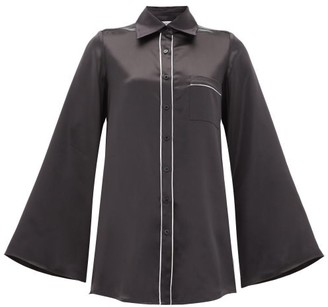 Adriana Iglesias Romeo Silk-satin Top - Black White