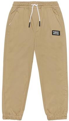 BURBERRY KIDS Logo cotton-twill trackpants