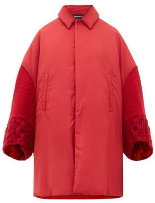 Undercover Wool-sleeve Padded Overcoat - Womens - Red