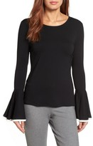 Vince Camuto Petite Women's Tipped Bell Sleeve Top