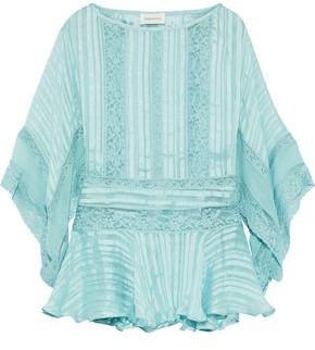 Zimmermann Lace-trimmed Striped Silk-chiffon Peplum Blouse