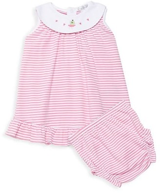 Kissy Kissy Baby Girl's 2-Piece Berry Ballet Embroidery Flounce Dress & Bloomers Set