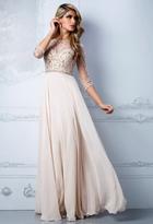 Terani Couture M2204 Embellished Illusion Bateau A-line Dress