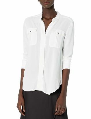 Kenneth Cole Women's Mandarin Collar Button Down
