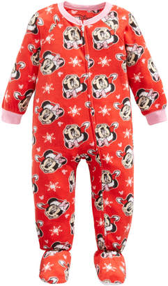 AME Toddler Girls 1-Pc. Fleece Minnie Mouse Footie Pajamas