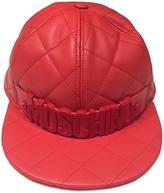 Moschino Red Nappa Leather Baseball Hat