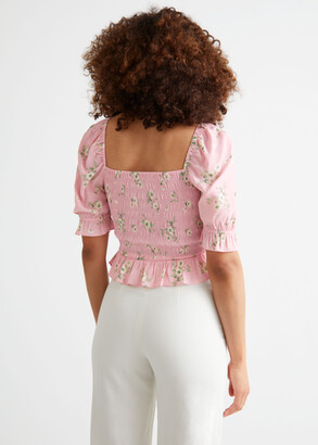 And other stories Printed Puff Sleeve Smock Top