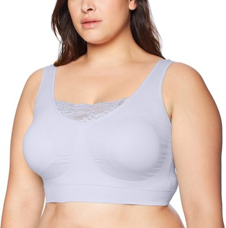 Ahh By Rhonda Shear Women's Double Layer Seamless Bra with lace Inset Bra