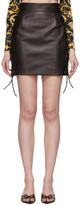 Versace Black Leather Laced Miniskirt