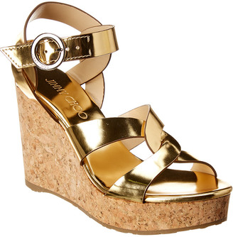 Jimmy Choo Aleili 100 Mirror Leather Wedge Sandal