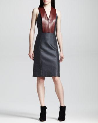 Alexander Wang Sleeveless Leather-Bib Dress