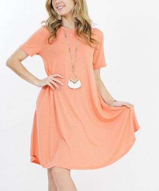 Lydiane Women's Casual Dresses DEEPCORAL - Deep Coral Crewneck Short-Sleeve Curved-Hem Pocket Tunic Dress - Women
