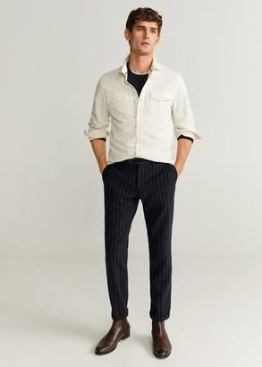 MANGO MAN - Slim fit pocket cotton shirt ecru - M - Men