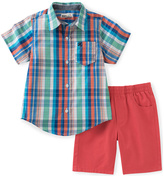 Kids Headquarters Blue Plaid Button-Up & Red Shorts - Toddler & Boys