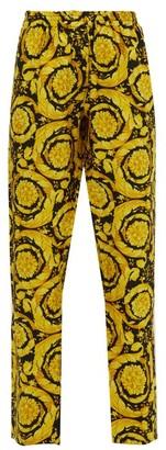 Versace Baroque-print Silk-twill Pyjama Trousers - Womens - Gold Multi